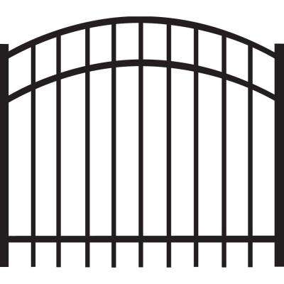 Natural Reflections Standard-Duty 4 ft. W x 3 ft. H Black Aluminum Arched Pre-Assembled Fence Gate