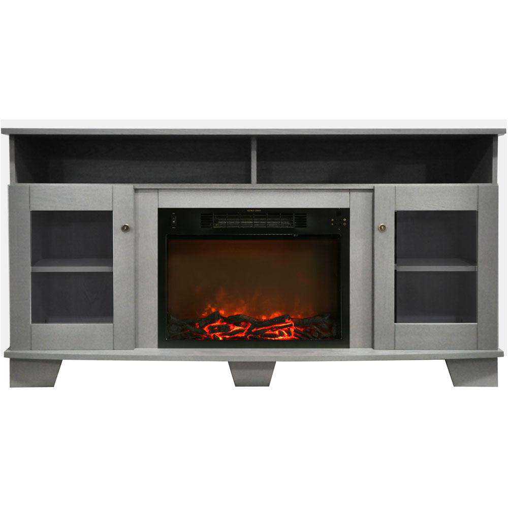 Savona 59 in. Electric Fireplace in Gray with Entertainment Stand and