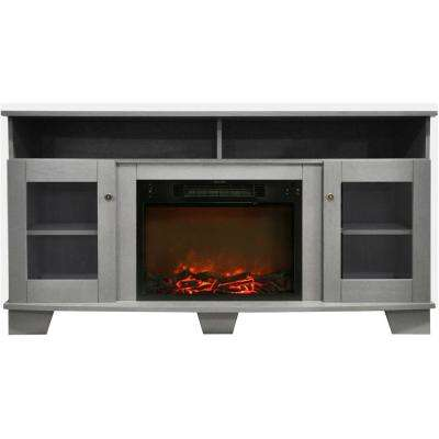 Savona 59 in. Electric Fireplace in Gray with Entertainment Stand and Charred Log Display