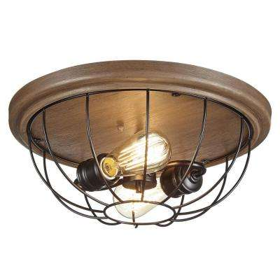 15.75 in. 2-Light Vintage Bronze Flushmount with Open Cage Frame