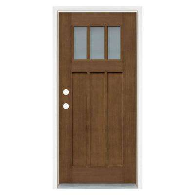 36 in. x 80 in. Medium Oak Right-Hand Inswing 3 Lite Frosted Craftsman Stained Fiberglass Prehung Front Door