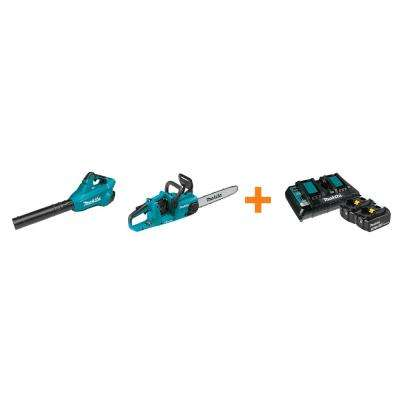 18V X2 LXT Blower and 18V X2 LXT 14 in. Chain Saw with bonus 18V LXT Starter Pack