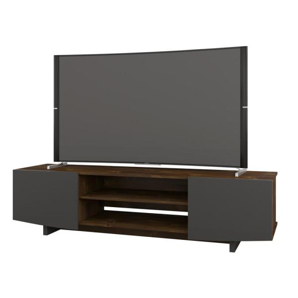 Nexera Helix 72 in. Truffle and Charcoal Grey Entertainment Center