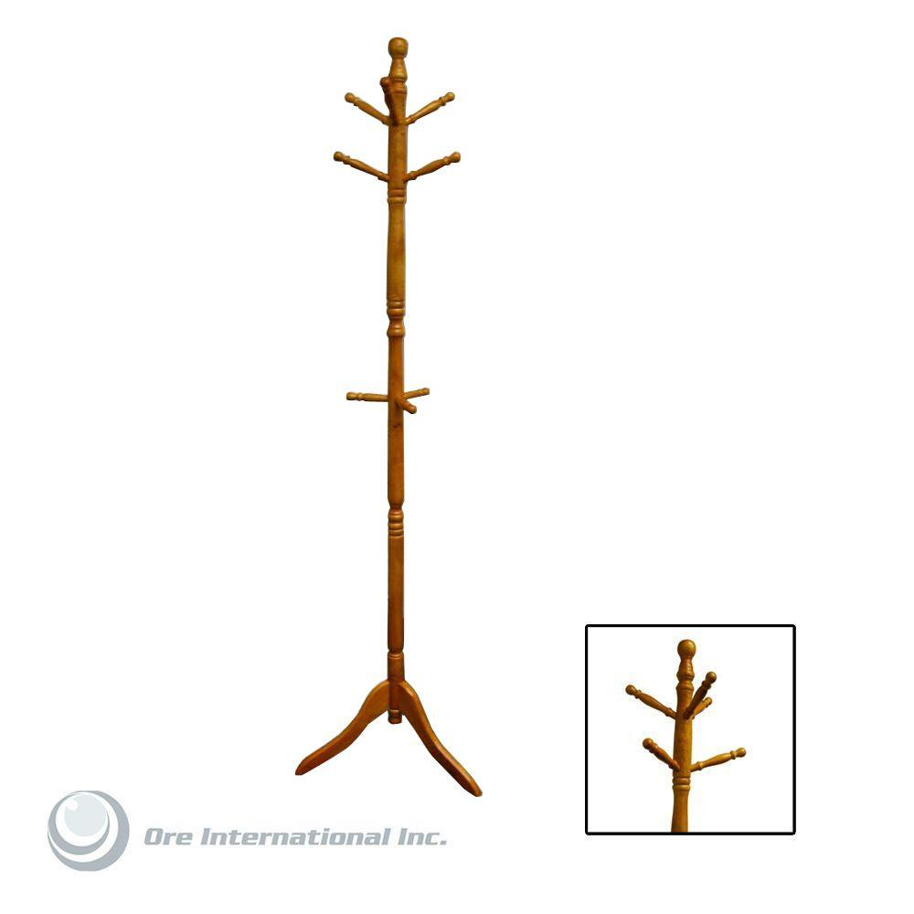 coat vintage free wooden rack hall cherry wood standing tree hat details floor stand swivel this itm color holder