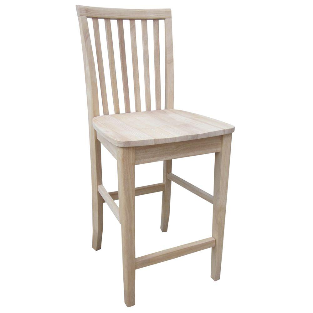 International Concepts 24 In Unfinished Wood Bar Stool 265 24 The Home Depot