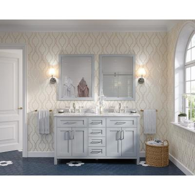 Riverdale 60 in. W x 21 in. D Vanity in Dove Gray with a Cultured Marble Vanity Top in White with White Sink