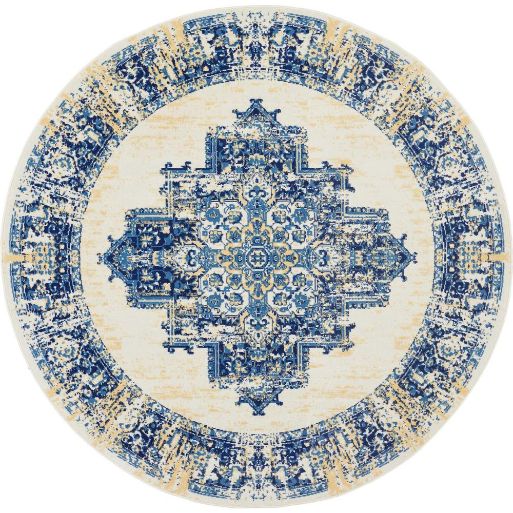 Blue And White Circle Rug: Nourison Grafix 8 Ft. Round White And Blue Persian Area