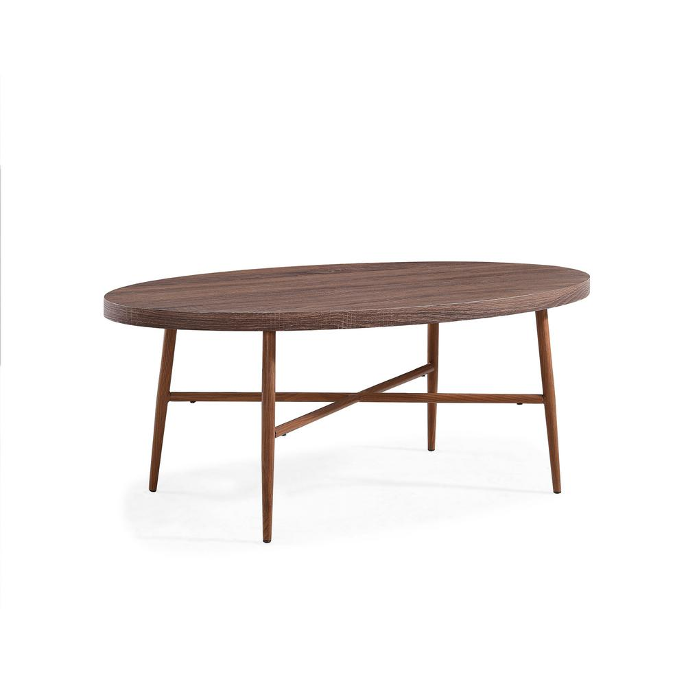 Oval Coffee Table With Metal Legs: Handy Living Miami Brown Oval Cocktail Table With Brown