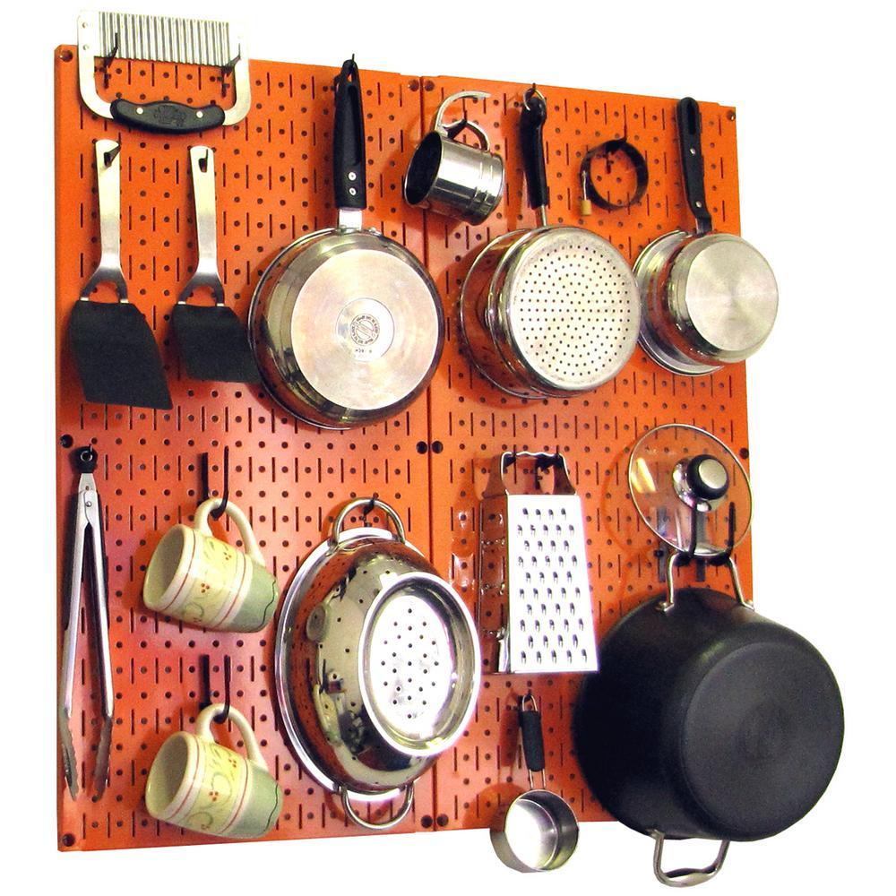 Kitchen Pegboard 32 in. x 32 in. Metal Peg Board Pantry Organizer Kitchen Pot Rack Orange Pegboard and Black Peg Hooks