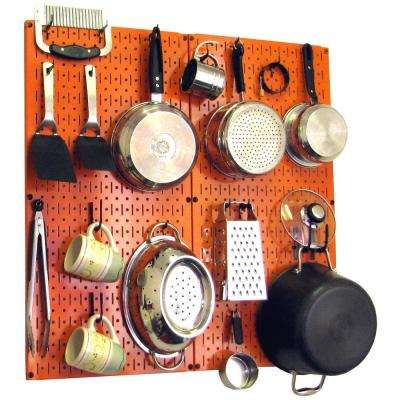 Kitchen Pegboard 32 in. x 32 in. Metal Peg Board Pantry Organizer Kitchen Pot Rack Orange Pegboard and Black Peg Hooks