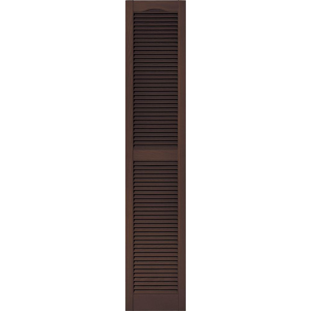 15 in. x 75 in. Louvered Vinyl Exterior Shutters Pair #009