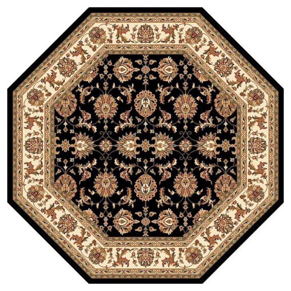 Traditional Kashan Black 7 ft. 7 in. x 7 ft. 7