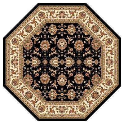 Traditional Kashan Black 7 ft. 7 in. x 7 ft. 7 in. Octagon Area Rug