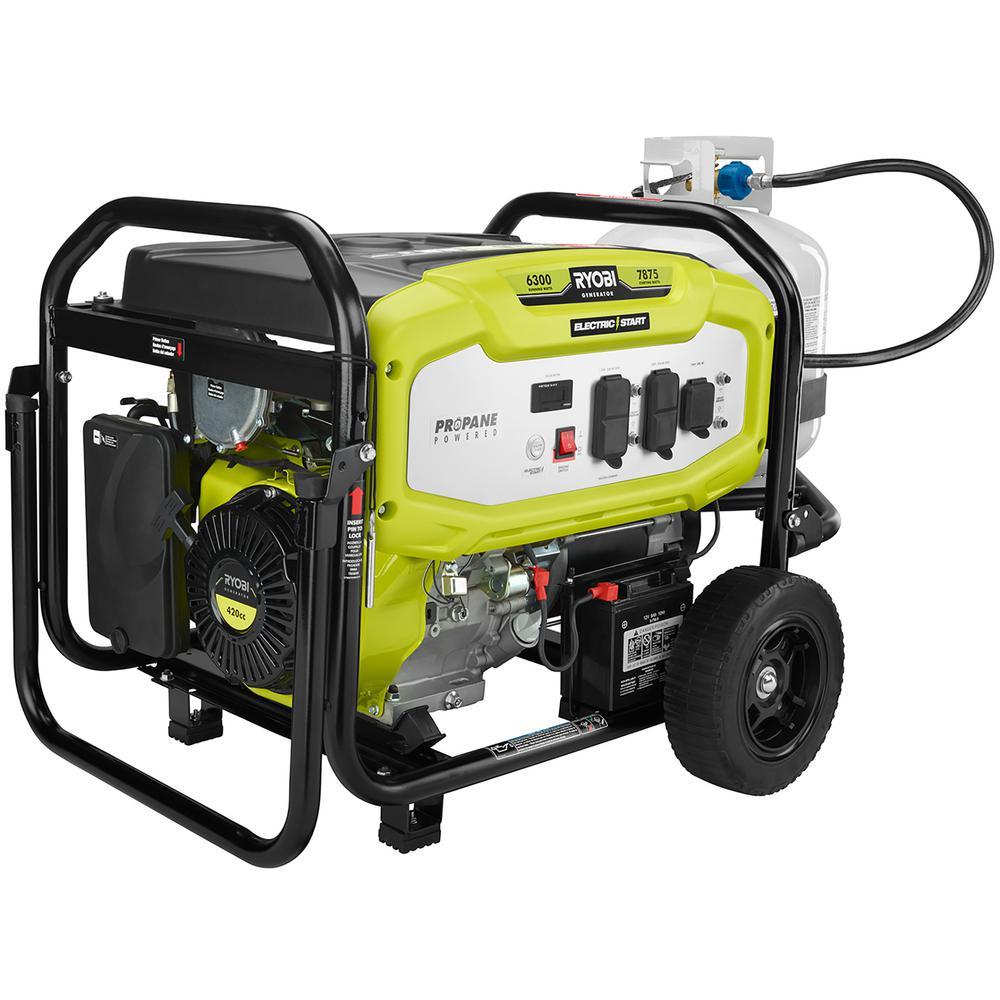 Ryobi 6,300-Watt Propane Gas Powered Electric Start Portable Generator by Ryobi