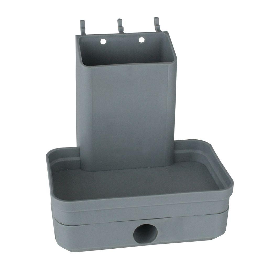 plastic peg pencil sharpener with tape measure holder in gray 24285
