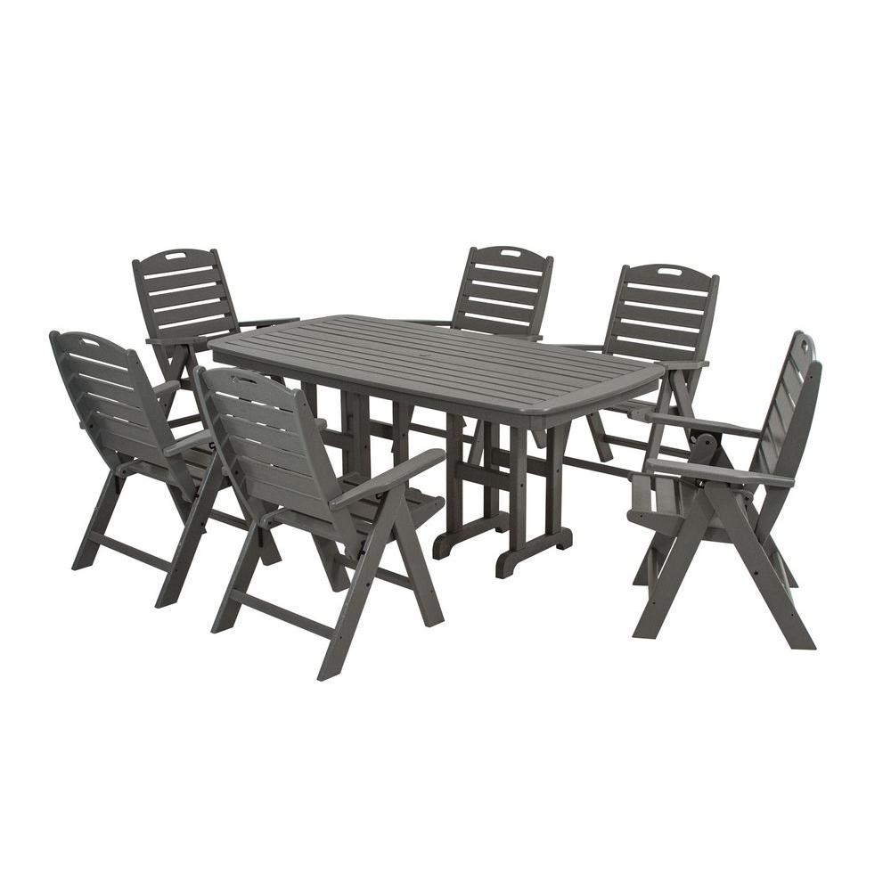 Polywood Nautical Slate Grey 7 Piece Plastic Outdoor Patio Dining