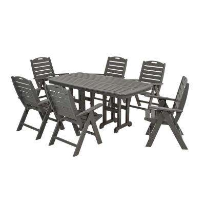 Nautical Slate Grey 7-Piece Plastic Outdoor Patio Dining Set