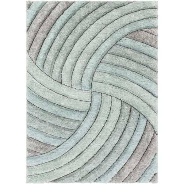 San Francisco Ucci Blue Modern Geometric Stripes 3 ft. 11 in. x 5 ft. 3 in. 3D Carved Shag Area Rug