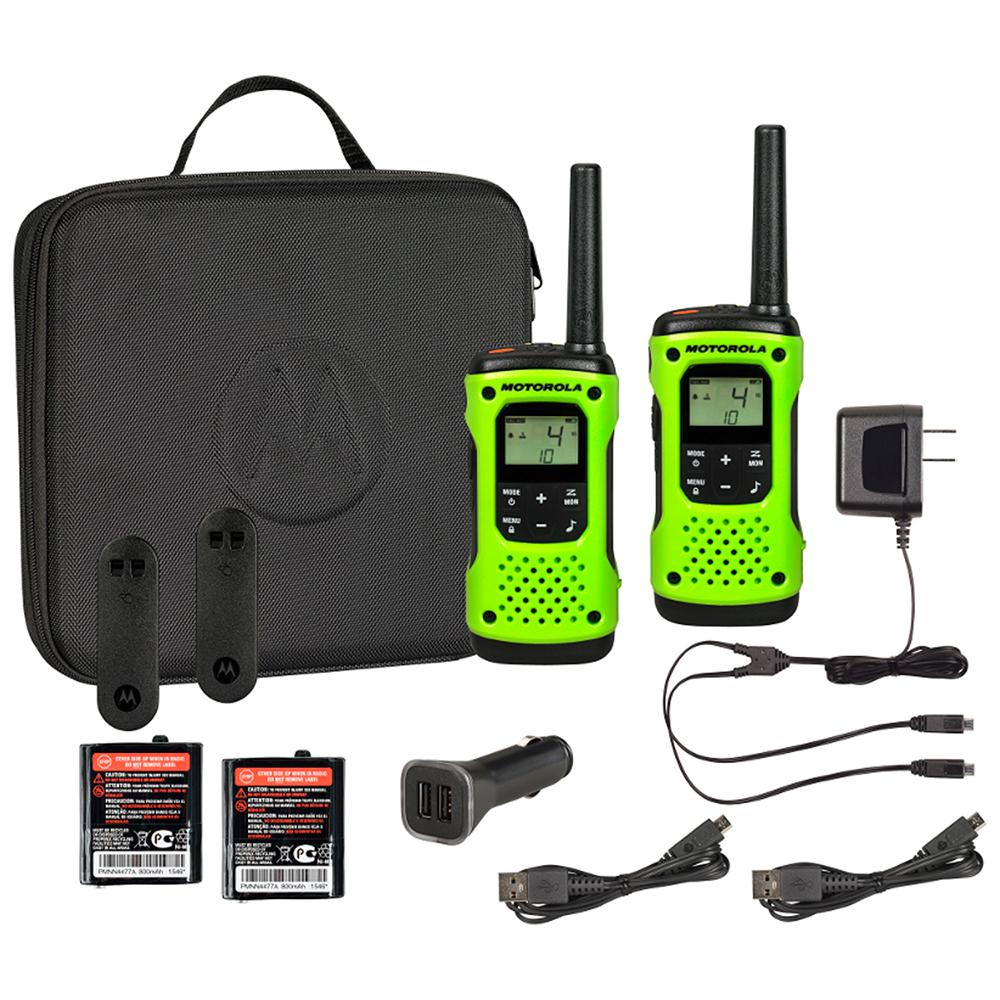 Motorola Talkabout T605 Rechargeable Waterproof 2-Way Radio with Carry Case and Charger, Green (2-Pack)