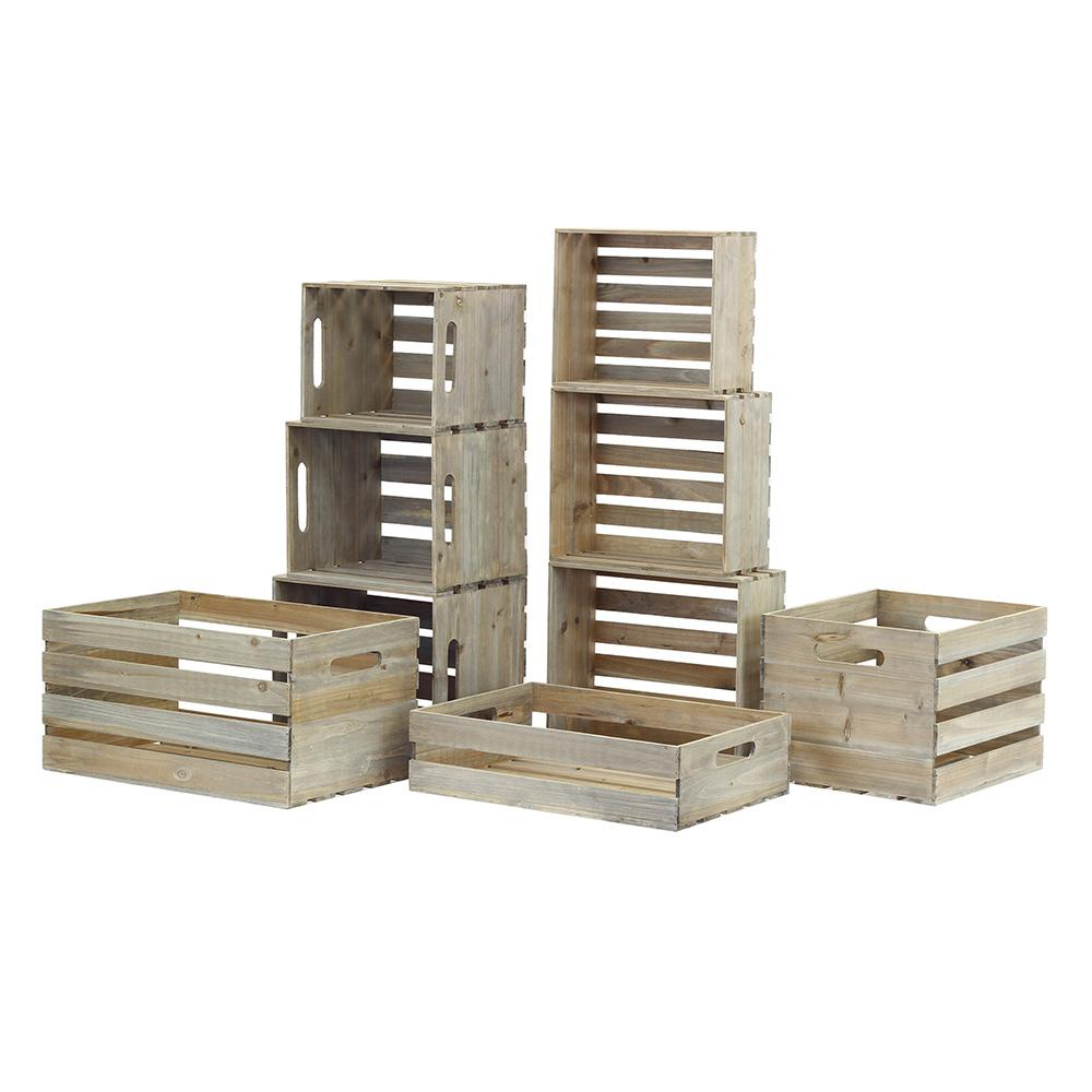 Nested Wood Crate Set In Weathered Gray (9 Pack)
