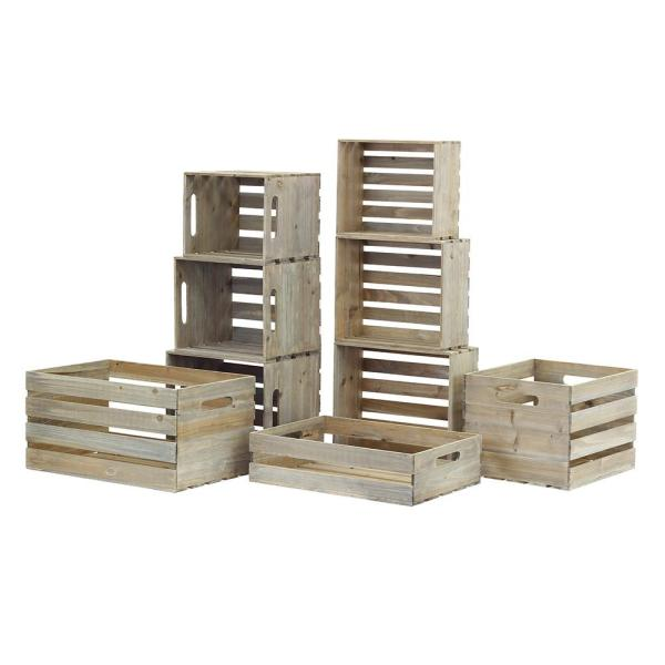 Nested Wood Crate Set in Weathered Gray (9-Pack)