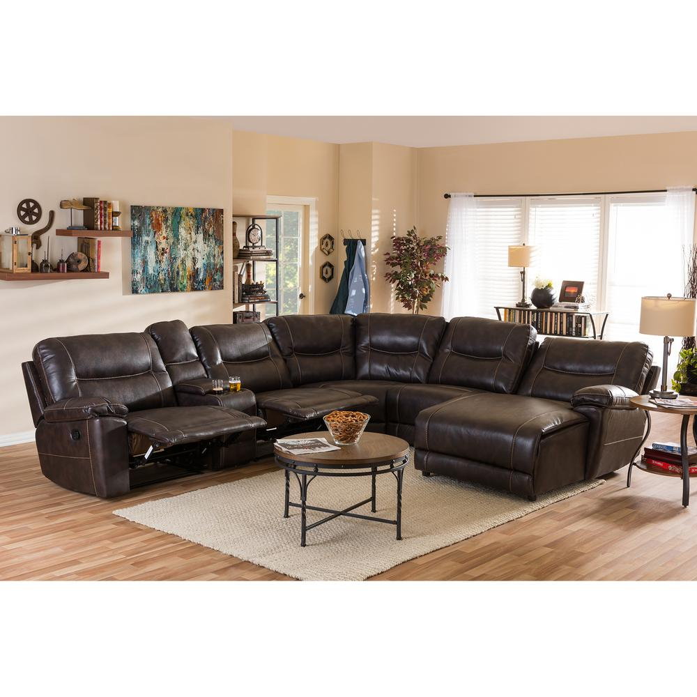 Mistral 6 Piece Contemporary Brown Faux Leather Upholstered Right Facing  Chase Sectional Sofa