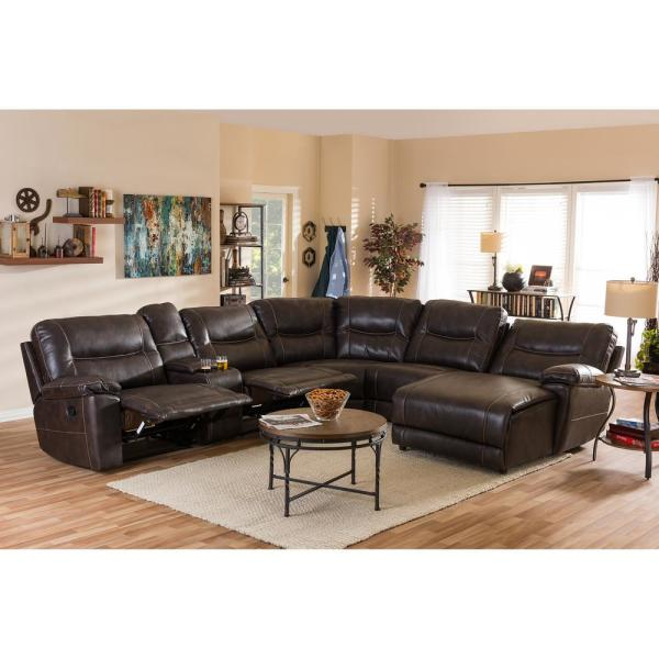 Baxton Studio Mistral 6-Piece Contemporary Brown Faux Leather Upholstered Right