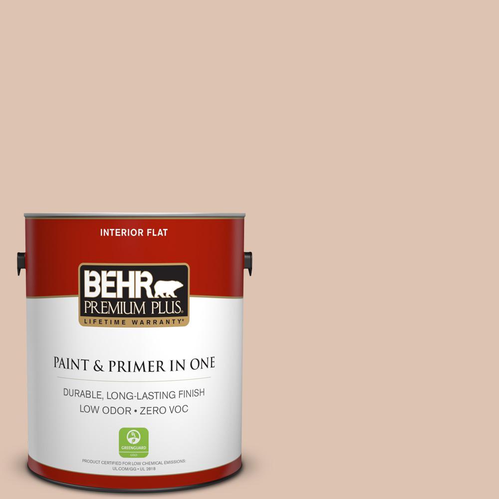 BEHR Premium Plus 1 gal. #N250-2 Brazilian Tan Flat Zero VOC Interior Paint and Primer in One