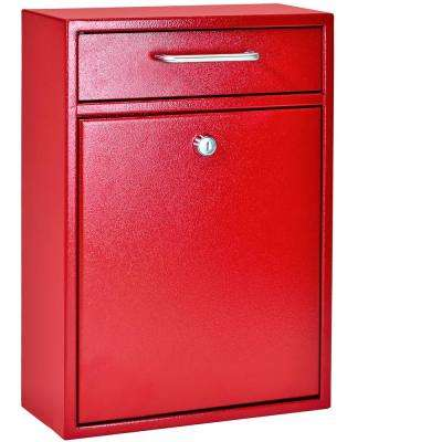 Olympus Locking Wall-Mount Drop Box With High Security Patented Lock, Bright Red