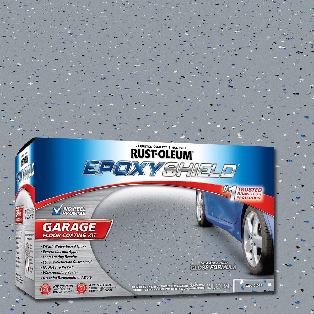 Rust-Oleum EpoxyShield 1 gal. Gray High-Gloss 1-Car Garage Floor ...