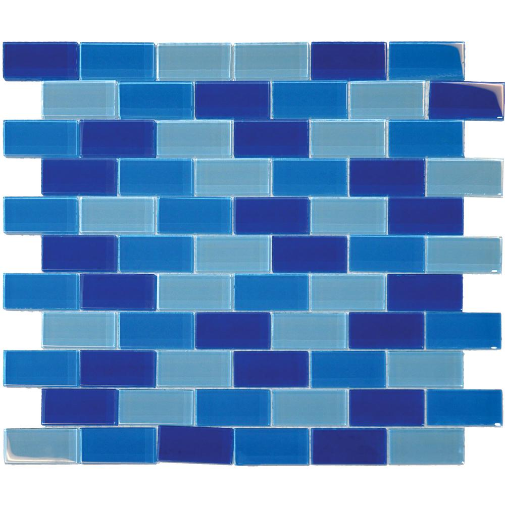 MSI Blue Blend 12 in. x 12 in. x 8mm Glass Mesh-Mounted Mosaic Tile (10 sq. ft. / case)