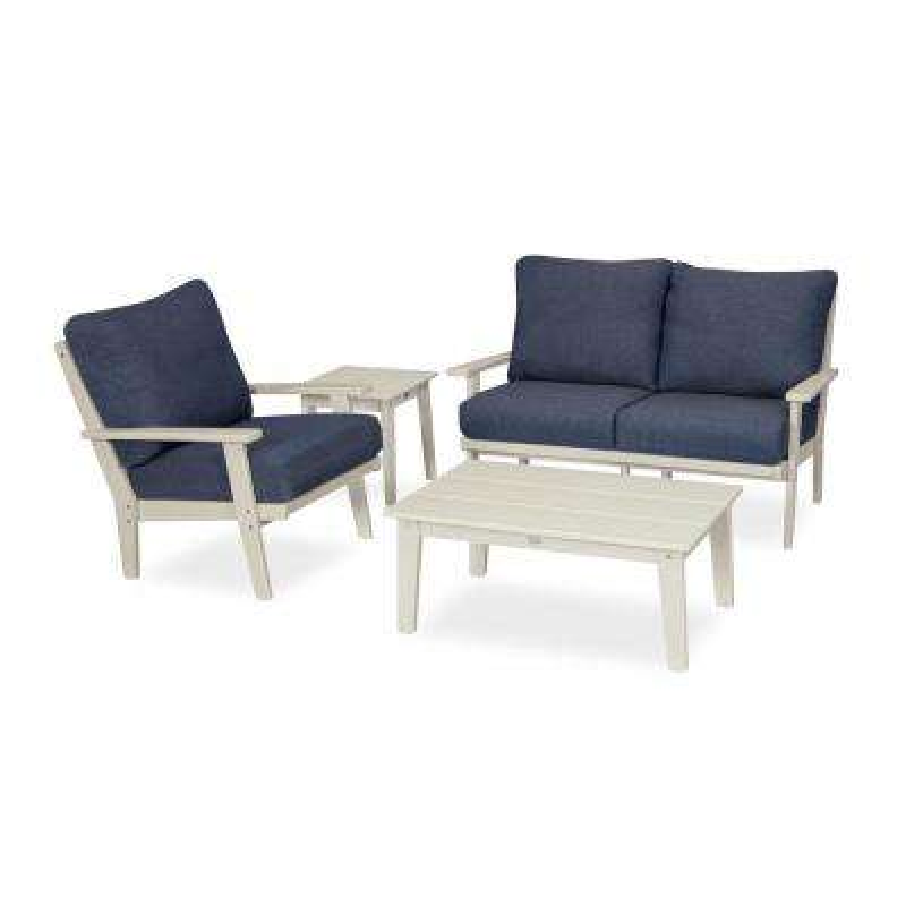 Grant Park Sand 4-Piece Plastic Patio Deep Seating Set with Sunbrella Stone Blue Cushions