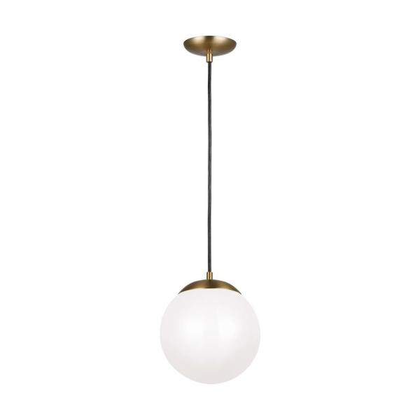 Leo Hanging Globe 10 in. 14-Watt Integrated LED Satin Brass Pendant with Smooth White Glass Shade