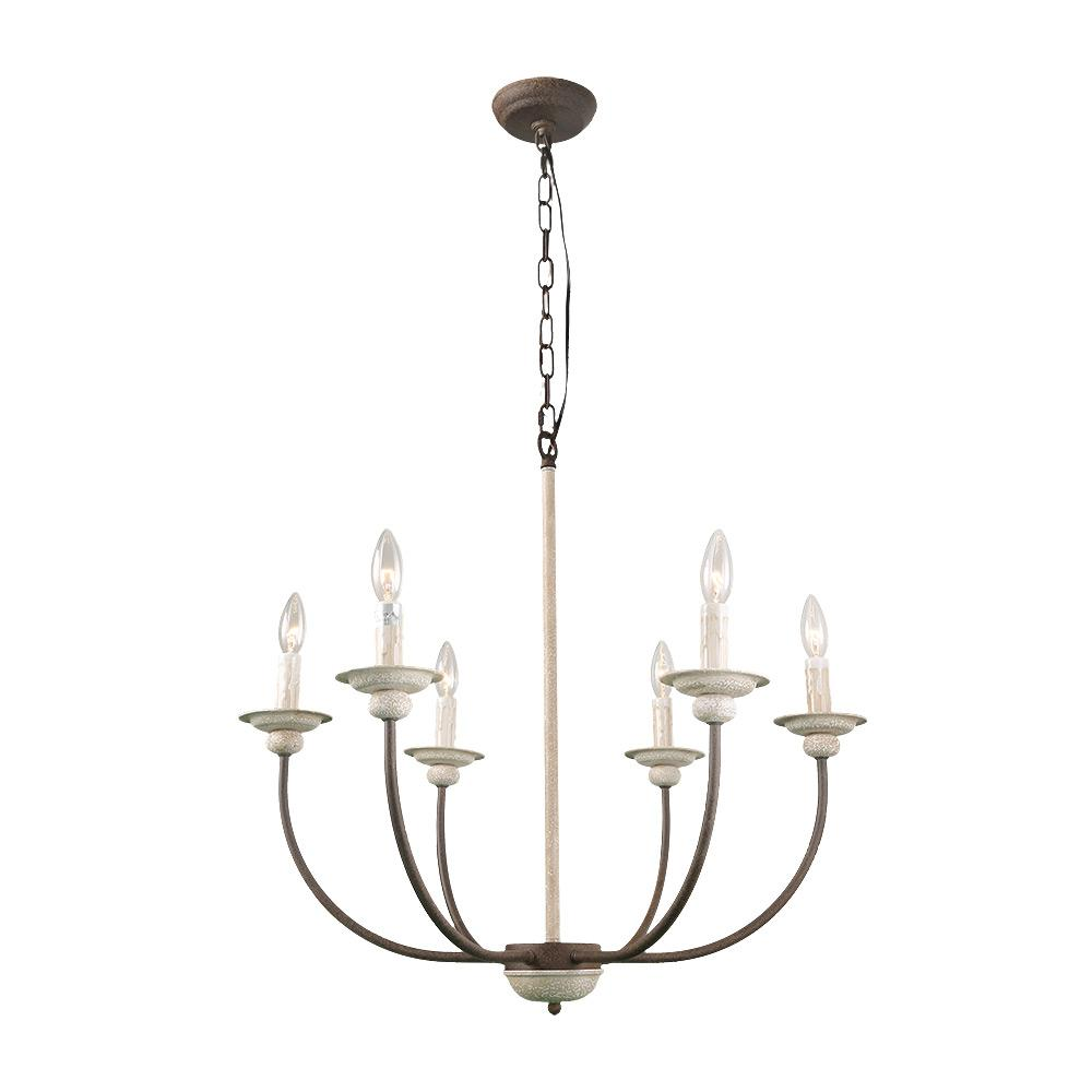 LNC 6-Light French Country Antique White Chandelier - LNC 6-Light French Country Antique White Chandelier-A03239 - The
