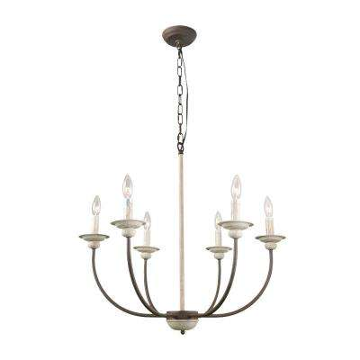 6-Light French Country Antique White Chandelier