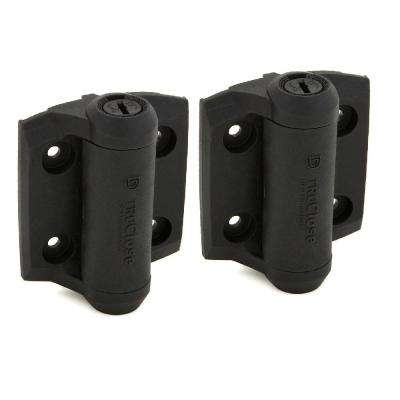 D&D 2-7/8 in. x 3-3/4 in. Black Self-Closing Metal Gate Hinge (2-Pack)