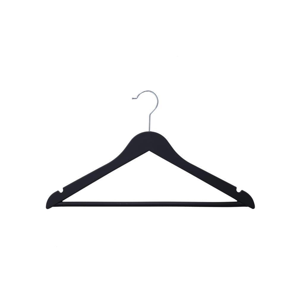 Black Heavy Duty Wood-Like Rubber Coated Suit Hanger (24 Pack)
