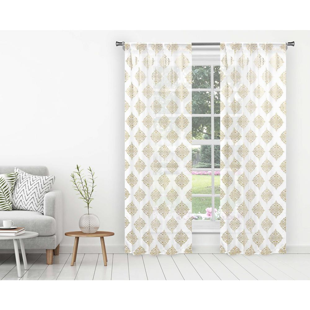 HOME MAISON Nash White-Gold Polyester Blackout Pole Top Window Curtain 38  in. W x 96 in. L (2-Pack)