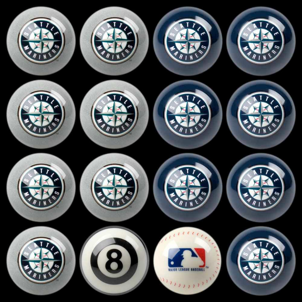 Seattle Mariners Home Vs Away Billiard Ball Full Set Of 16 Imp 50