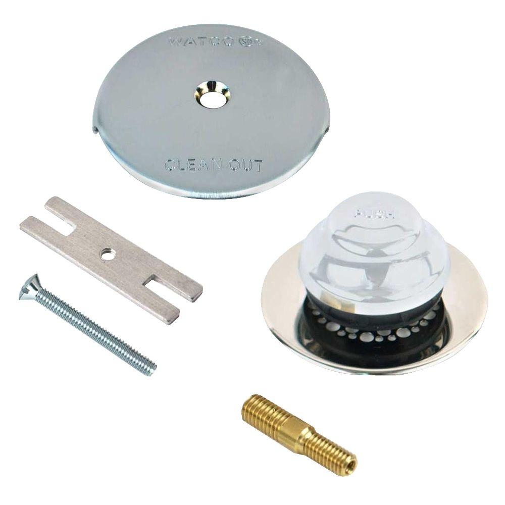 Watco Universal NuFit Foot Actuated Bathtub Stopper with Grid Strainer, One Hole Overflow and Combo Pin Kit in Chrome Plated