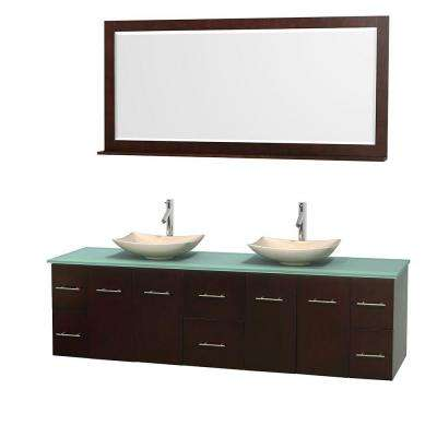 Centra 80 in. Double Vanity in Espresso with Glass Vanity Top in Green, Ivory Marble Sinks and 70 in. Mirror