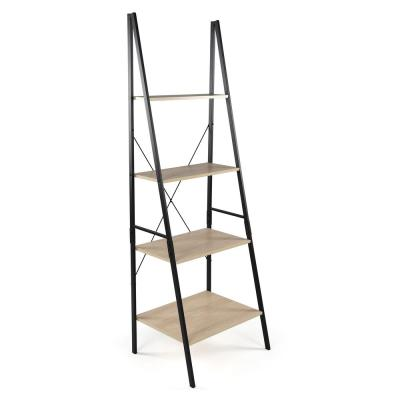 70.9 in. Black/Gray Metal 4-shelf Ladder Bookcase with Open Back