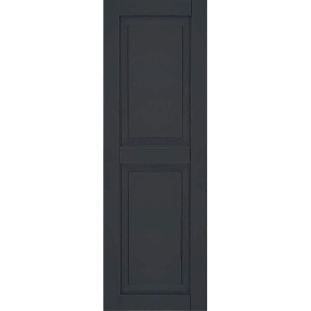 Ekena Millwork 12 in. x 55 in. Exterior Composite Wood Raised Panel Shutters Pair Black