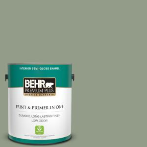 Behr Premium Plus 1 Gal 430f 4 False Cypress Semi Gloss Enamel Low Odor Interior Paint And Primer In One 340001 The Home Depot