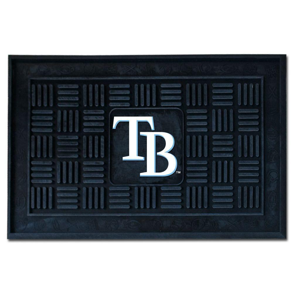 MLB Tampa Bay Rays Black 19 in. x 30 in. Vinyl Indoor/Outdoor Door Mat