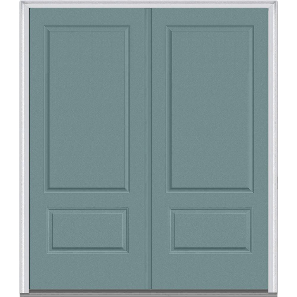 72 in. x 80 in. Classic Left-Hand Inswing 2-Panel Painted Fiberglass