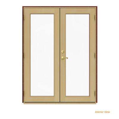 60 in. x 80 in. W-2500 Red Clad Wood Left-Hand Full Lite French Patio Door w/Unfinished Interior