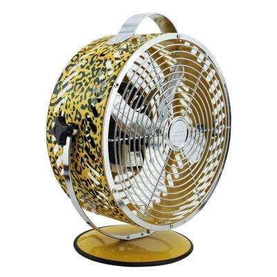 Breeze 8.75 in. Decor Leopard Table Fan