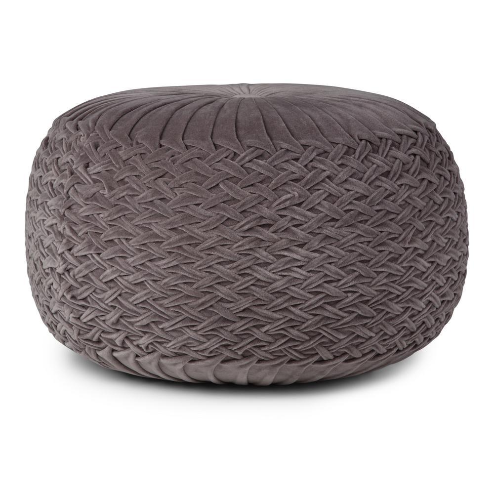 Grafton Grey Round Pouf