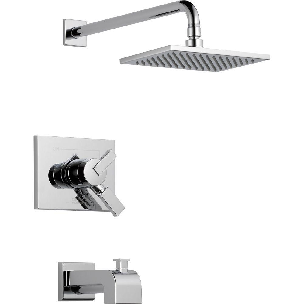 Delta Vero 1-Handle Tub and Shower Faucet Trim Kit in Chrome (Valve ...